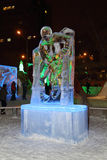 PERM, RUSSIA - JAN 11, 2014: Illuminated sculpture moving hockey Stock Photos