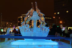 PERM, RUSSIA - JAN 11, 2014: Illuminated sculpture of skier Stock Images