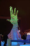 PERM, RUSSIA - JAN 11, 2014: Sculpture Hand at evening Stock Image