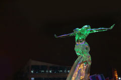 PERM, RUSSIA - JAN 11, 2014: Sculpture Woman in Ice town Stock Photo