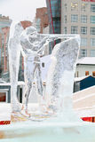 PERM, RUSSIA - JAN 6, 2014: Biathlonist sculpture in Ice town Stock Photo