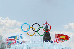 PERM, RUSSIA - JAN 6, 2014: Big Symbol of Olympic Games in Ice t Royalty Free Stock Photos