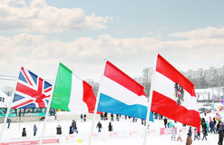 PERM, RUSSIA - JAN 6, 2014: Flags of participating countries Stock Image