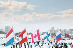 PERM, RUSSIA - JAN 6, 2014: Flags of participating countries Royalty Free Stock Photos