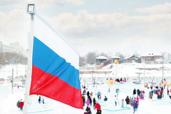 PERM, RUSSIA - JAN 6, 2014: Russian flag in Ice town, created in Royalty Free Stock Photos