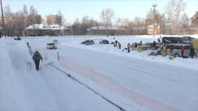 PERM, RUSSIA, JANUARY 17.2016 Car racing at the stadium stock footage