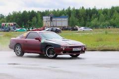 PERM, RUSSIA - JUL 22, 2017: Drifting brown car Royalty Free Stock Photos