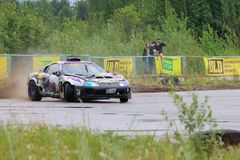 PERM, RUSSIA - JUL 22, 2017: Drifting car with smoke Stock Photos