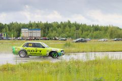 PERM, RUSSIA - JUL 22, 2017: Drifting car on track Royalty Free Stock Photography