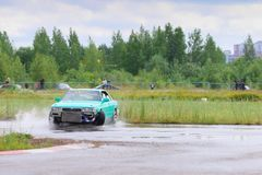 PERM, RUSSIA - JUL 22, 2017: Drifting green car move Stock Photography