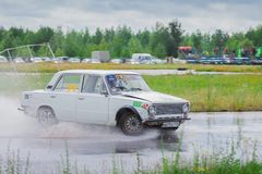 PERM, RUSSIA - JUL 22, 2017: Drifting white car move Stock Image