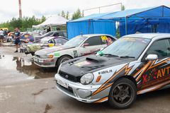 PERM, RUSSIA - JUL 22, 2017: Sport cars with advertising Stock Images