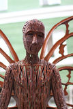 PERM, RUSSIA - JUL 18, 2013: Upper part of sculpture Butterfly. Near Crystal cinema royalty free stock image