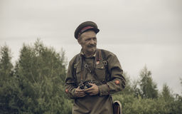 PERM, RUSSIA - JULY 30, 2016: Historical reenactment of World War II, summer, 1942. Soviet officer Royalty Free Stock Photography