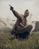 PERM, RUSSIA - JULY 30, 2016: Historical reenactment of World War II, summer, 1942. Soviet officer with pistol Stock Photos