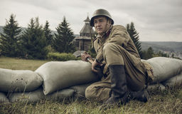 PERM, RUSSIA - JULY 30, 2016: Historical reenactment of World War II, summer, 1942. Soviet soldier Royalty Free Stock Image