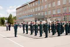 PERM, RUSSIA, JULY 04.2015:Military orchestra at a meeting of veterans Royalty Free Stock Images
