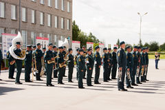 PERM, RUSSIA, JULY 04.2015:Military orchestra at a meeting of veterans Royalty Free Stock Photos