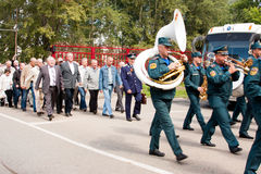 PERM, RUSSIA, JULY 04.2015:Military orchestra at a meeting of veterans Stock Photos