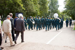 PERM, RUSSIA, JULY 04.2015:Military orchestra at a meeting of veterans Stock Images