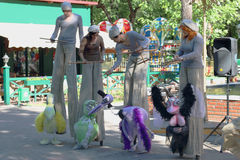 PERM, RUSSIA - JUN, 23, 2014: Bird puppets and puppeteers Stock Photo