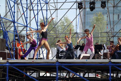 PERM, RUSSIA - JUN 17, 2013: Dancers at rehearsal on stage Stock Photos