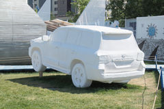 PERM, RUSSIA - JUN 11, 2013: Fictional sport utility vehicle. Foam in festival town Royalty Free Stock Photo