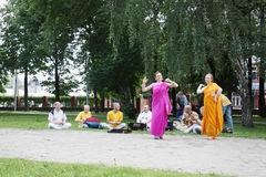 PERM, RUSSIA - JUN 10, 2012: Krishna worshipers dance in square Royalty Free Stock Image