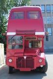 PERM, RUSSIA - JUN 11, 2013: Old double-decker bus with cafe Stock Photos