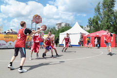 PERM, RUSSIA - JUN 13, 2013: Youth Basketball Tournament Stock Images