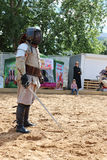 PERM, RUSSIA - JUNE 25, 2014: One fencer with a sword Royalty Free Stock Photography