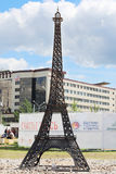 PERM, RUSSIA - JUNE 25, 2014: Parody of metal Eiffel Tower. At festival White Nights Stock Photography