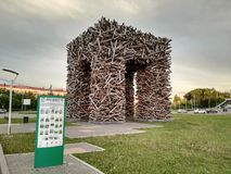 Perm, Russia, June 2017. The project is traveling in Russia. Sculpture Perm gate at Gaidar square. stock photography
