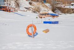 Perm, Russia - March 11.2017: Boat on a winter day Stock Photography
