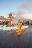 PERM, RUSSIA - March 13, 2016: Burning effigies of Carnival. On the Esplanade Stock Image