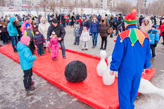 PERM, RUSSIA - March 13, 2016: Children playing skittles Royalty Free Stock Image