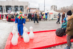 PERM, RUSSIA - March 13, 2016: Children playing skittles Royalty Free Stock Images