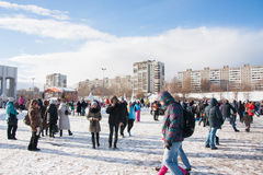 PERM, RUSSIA - March 13, 2016: A lot of people in the square Royalty Free Stock Photos