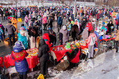 PERM, RUSSIA - March 13, 2016: A lot of people in the square Royalty Free Stock Image