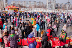 PERM, RUSSIA - March 13, 2016: A lot of people in the square Stock Photos