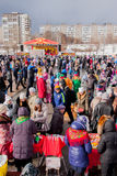 PERM, RUSSIA - March 13, 2016: A lot of people in the square Royalty Free Stock Photography