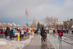 PERM, RUSSIA - March 13, 2016: A lot of people in the square Royalty Free Stock Photo
