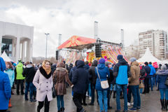 PERM, RUSSIA - March 13, 2016: A lot of people in the square Royalty Free Stock Images