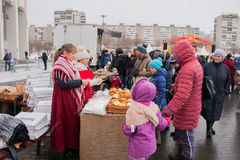 PERM, RUSSIA - March 13, 2016: People buy fresh pastries Stock Images