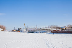 Perm, Russia-March 11.2017: Ships and barges on the shipyard Stock Image