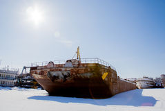 Perm, Russia - March 11.2017: Ships and barges on the shipyard Royalty Free Stock Photo