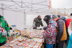 PERM, RUSSIA - March 13, 2016: Trade Fair with delicious cakes Stock Images