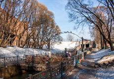 Perm, Russia - March 31.2016: Water channel in a park in spring Stock Image