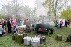 Perm, Russia - May 09.2016: Field kitchen with a military porridge Stock Photos