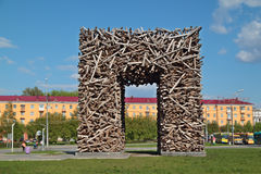 PERM, RUSSIA - MAY 23, 2013: Large Russian letter P made royalty free stock photos